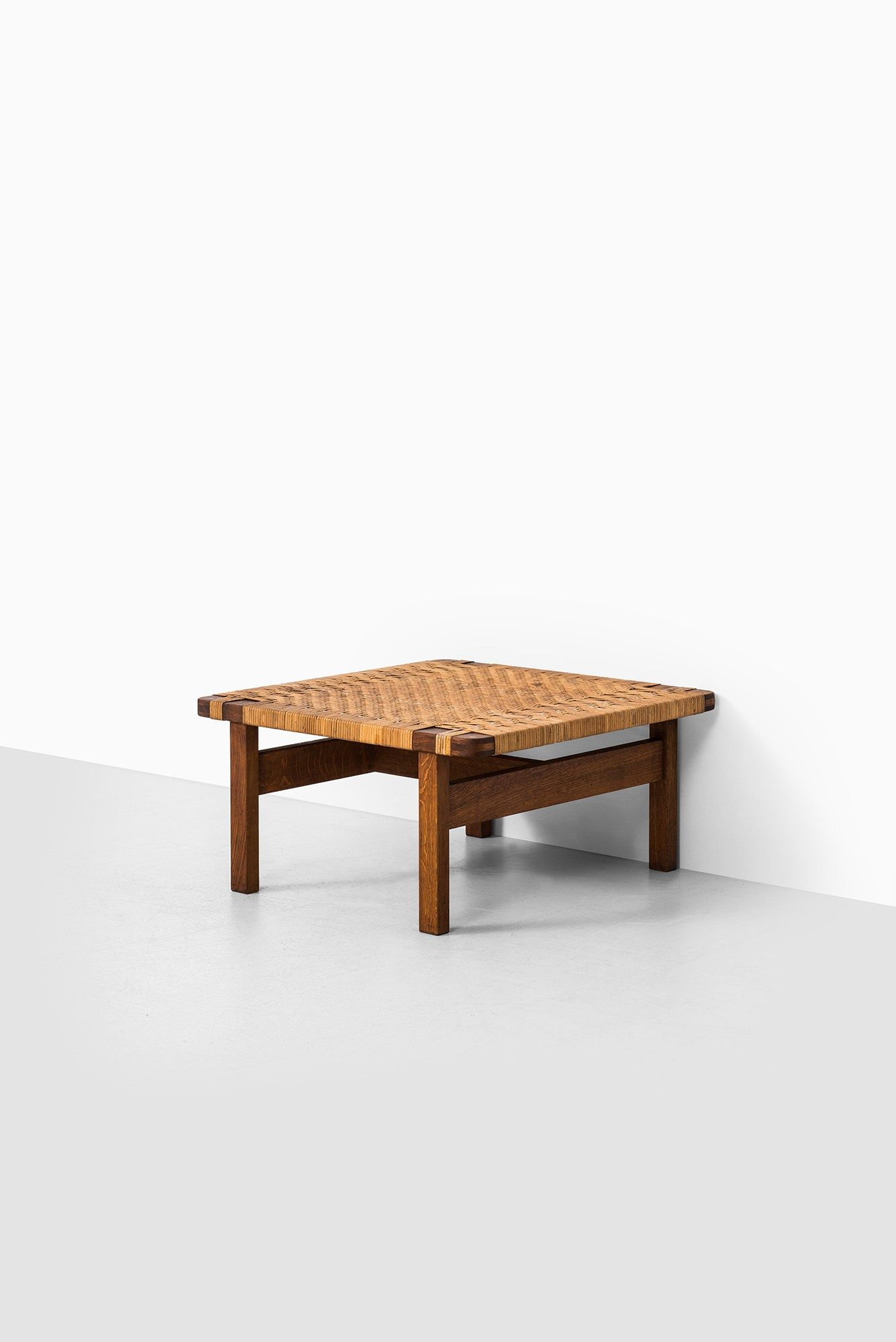 B¸rge Mogensen side table in oak and woven cane at Studio