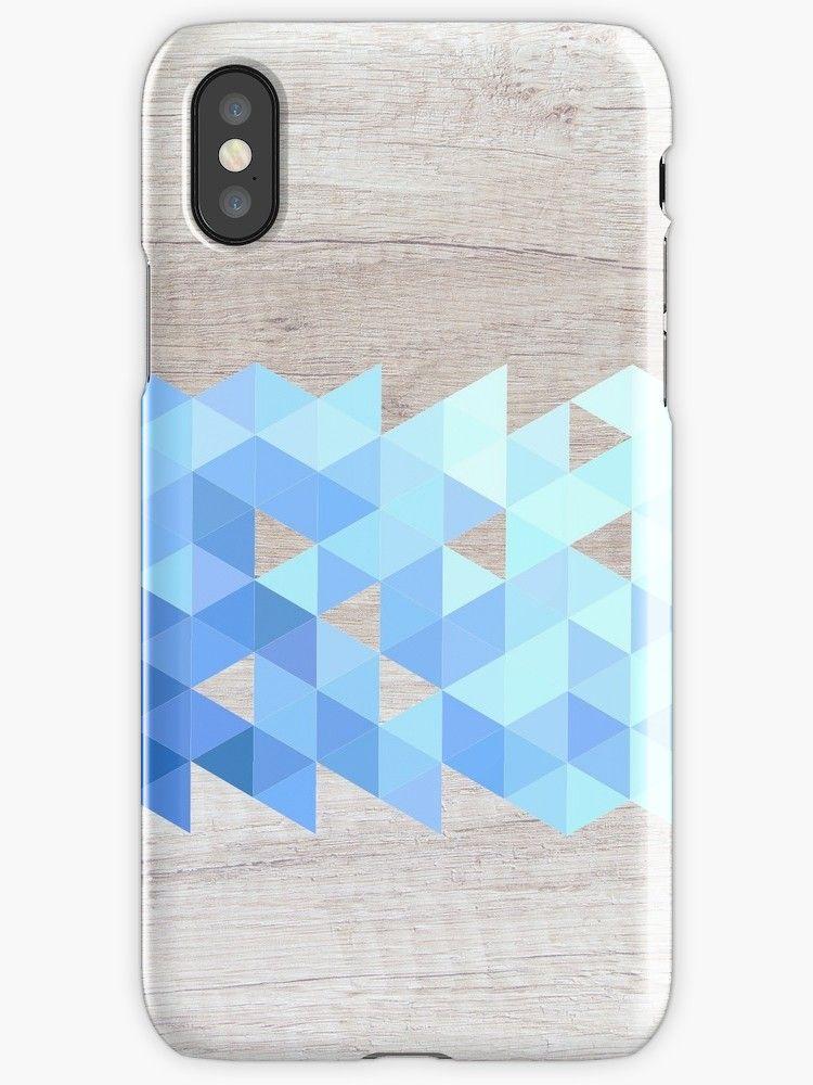 Blue Geometric Drift Wood' iPhone Case by Adele Mawhinney