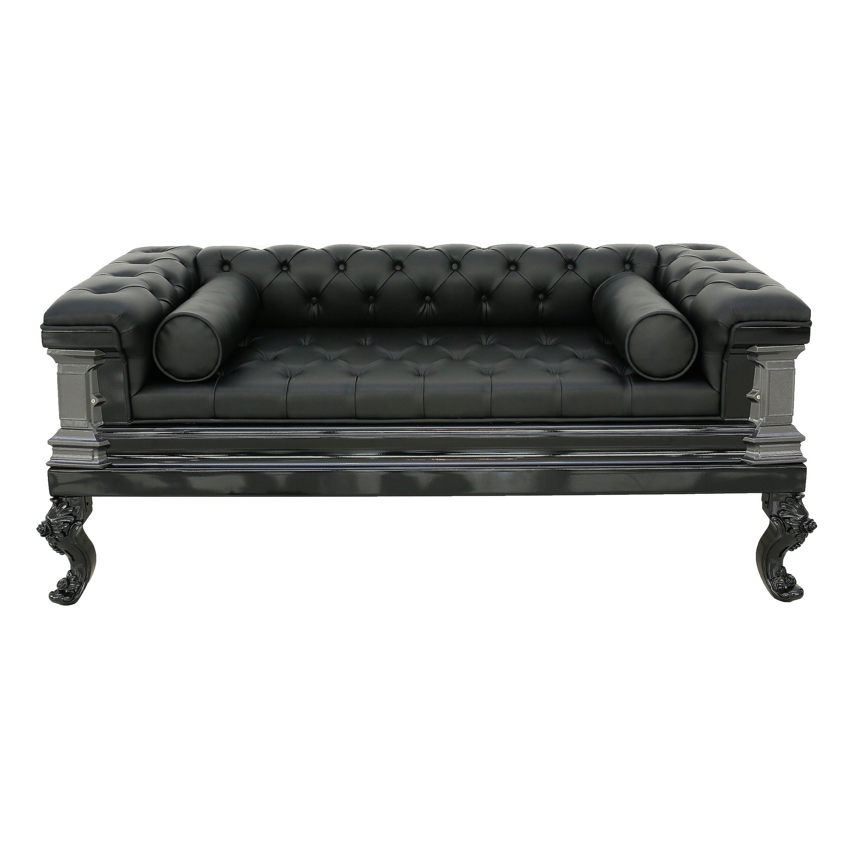 Gothic Inspired Black Leather Sofa