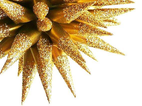Handmade Glittered Gold Paper Star Urchin Ornament Christmas Holiday