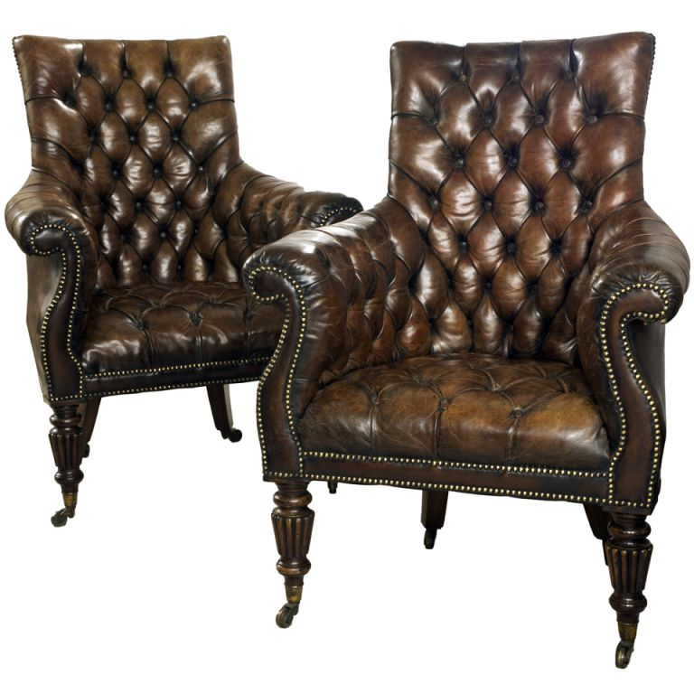 1stdibs | Fine Pair Of Deep Buttoned Leather Library Chairs From The  Regency Period - 1stdibs Fine Pair Of Deep Buttoned Leather Library Chairs From The