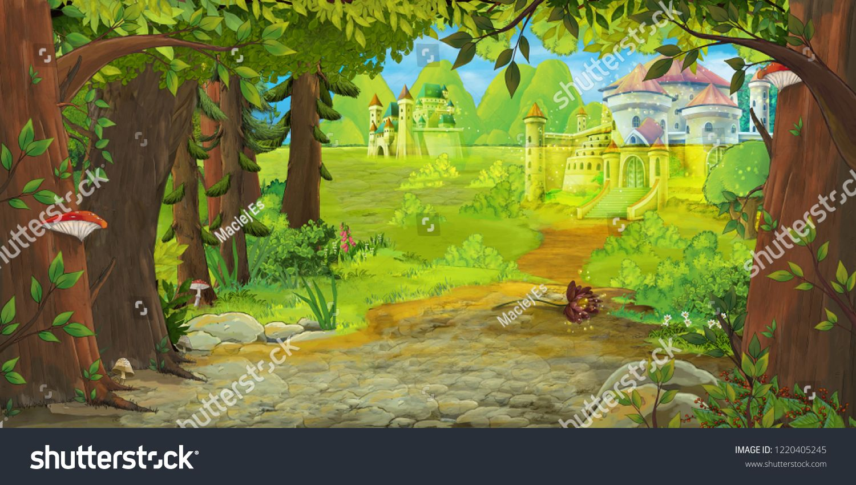 Cartoon Nature Scene With Beautiful Castle Near The Forest Illustration For Children Scene Beautiful Cartoon N Forest Illustration Nature Scenes Illustration