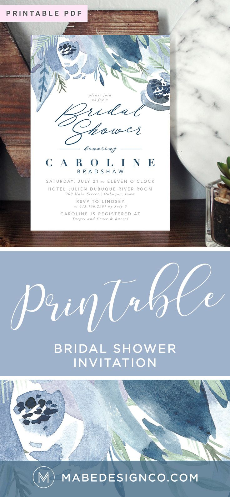 wedding shower invite sample%0A A printable boho bridal shower invitation featuring digital handpainted  watercolor floral elements  The design is customizable and can feature the  wording