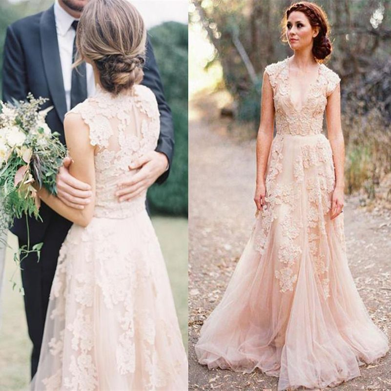 Vestidos De Novia Cap Sleeves Pink Wedding Dresses UK Lace Applique Tulle Sheer Cheap Vintage A