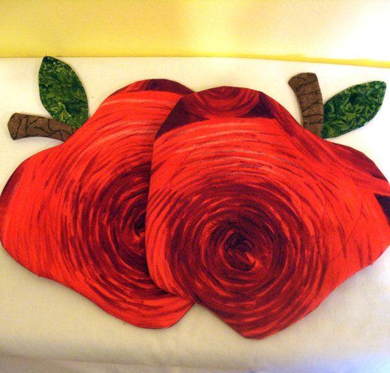 Mug Rug Trivets Set of Two Red Apples
