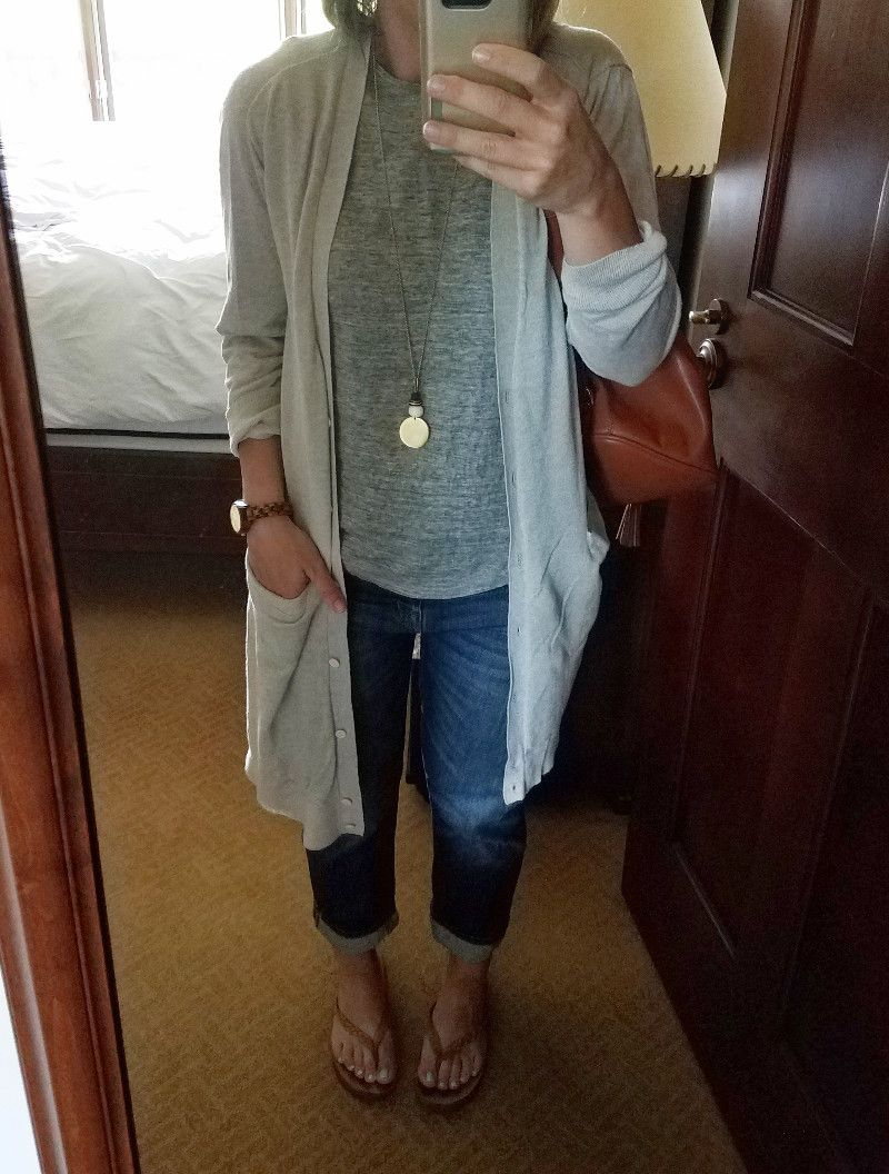 Summer Style Challenge 30x30: Outfit #6:grey long sleeved tee grey ...