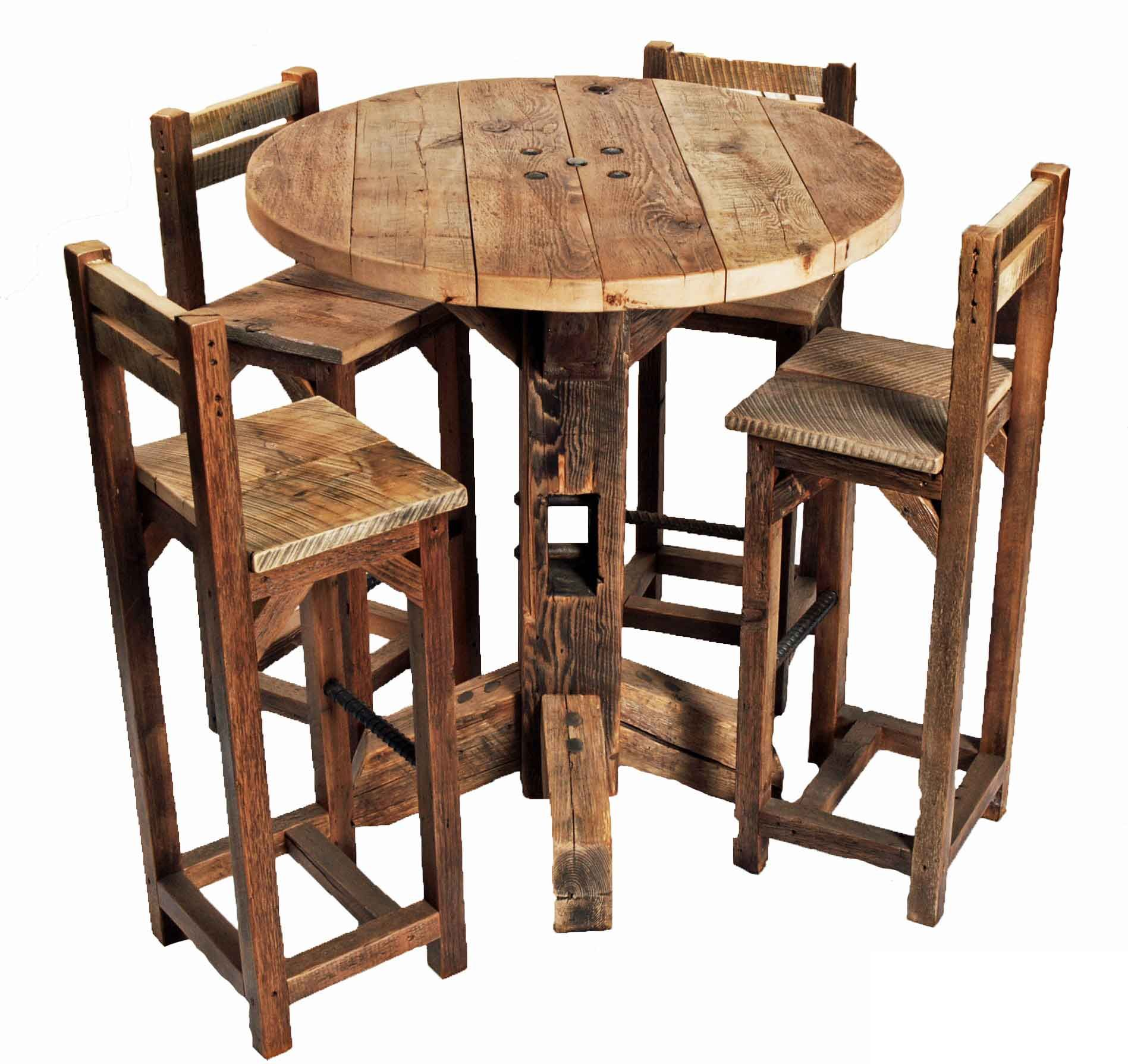 furniture, old rustic small high round top kitchen table and chair