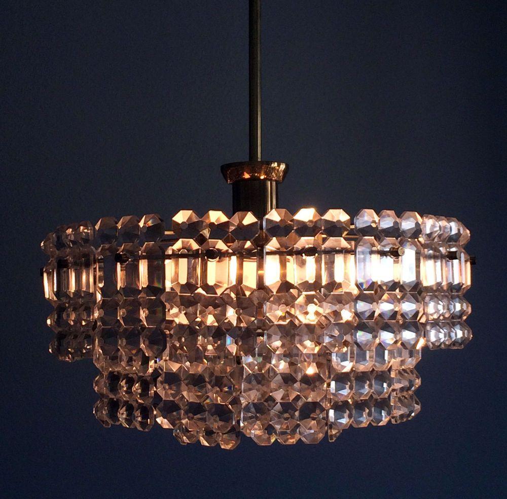 Mid Century Kinkeldey Facetted Crystal Glass 7 Lights Chandelier Lamp Palwa Era Ebay Kronleuchter Kronleuchter Ideen Deckenleuchten