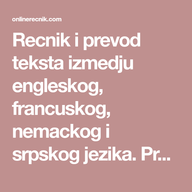 Recnik I Prevod Teksta Izmedju Engleskog Francuskog