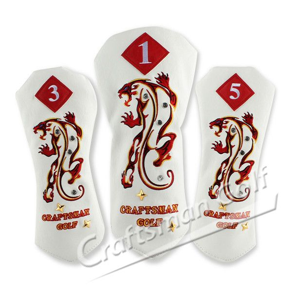 Embroidery Tiger PU Leather Wood Golf Head Covers Set, designed by  CRAFTSMAN GOLF.