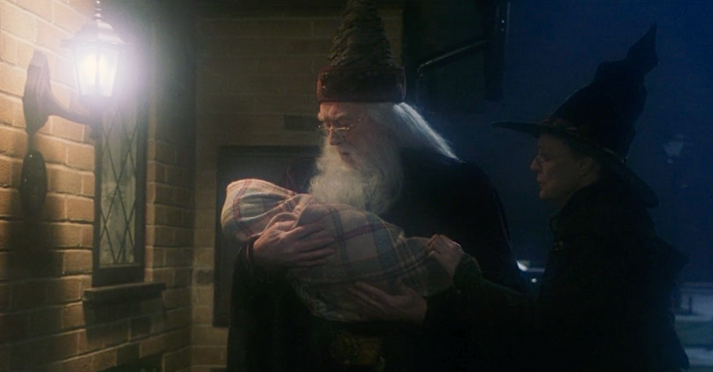 Albus Dumbledore delivering Harry Potter with Minerva McGonagall