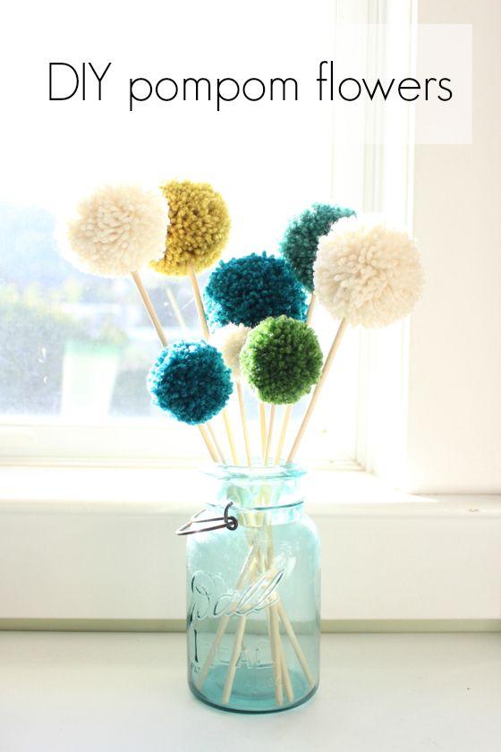 DIY pompom flowers - put pom poms on the end of pens too