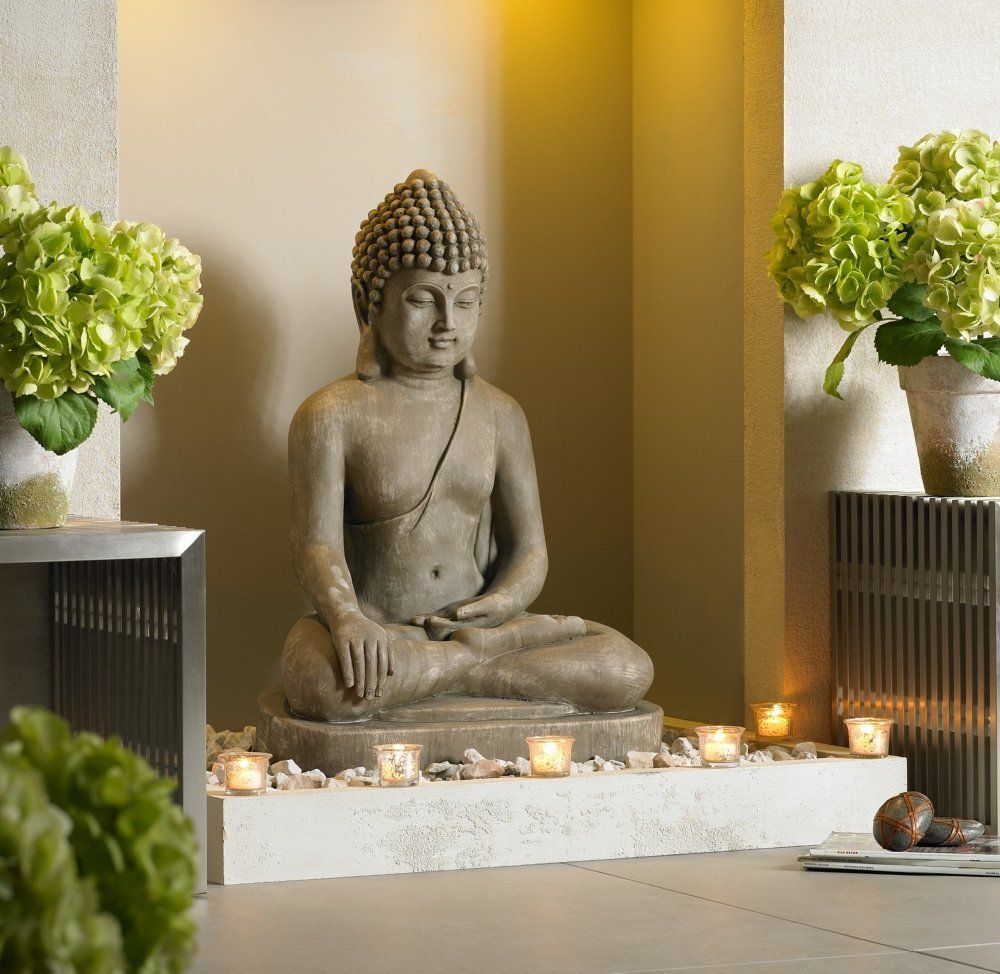 sitting buddha faux sandstone 29 1 2 h outdoor statue zen jardines zen y budas. Black Bedroom Furniture Sets. Home Design Ideas