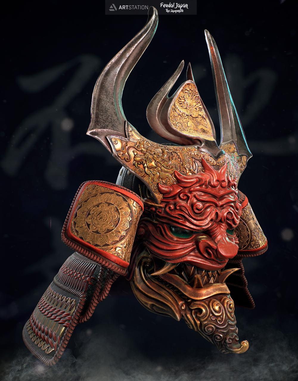 Artstation Oni Samurai Helmet Doru Bogdan Bronya Samuraya Kartinki Cherepa Samurajskoe Iskusstvo
