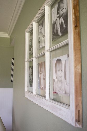 DIY - turning an old paned window, into a multi-picture frame ...