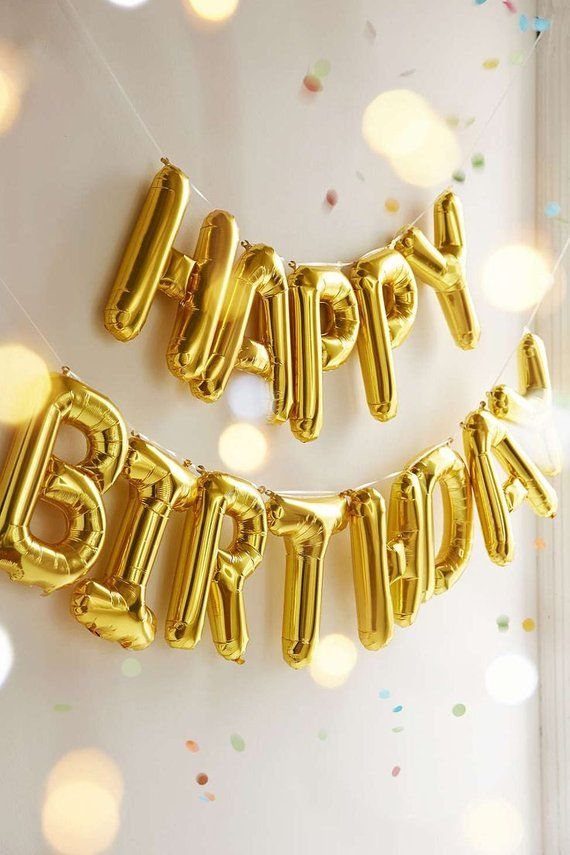 """New /""""Happy Birthday/"""" Party Balloons Gold Foil Banner Garland Great for Party 16/"""""""