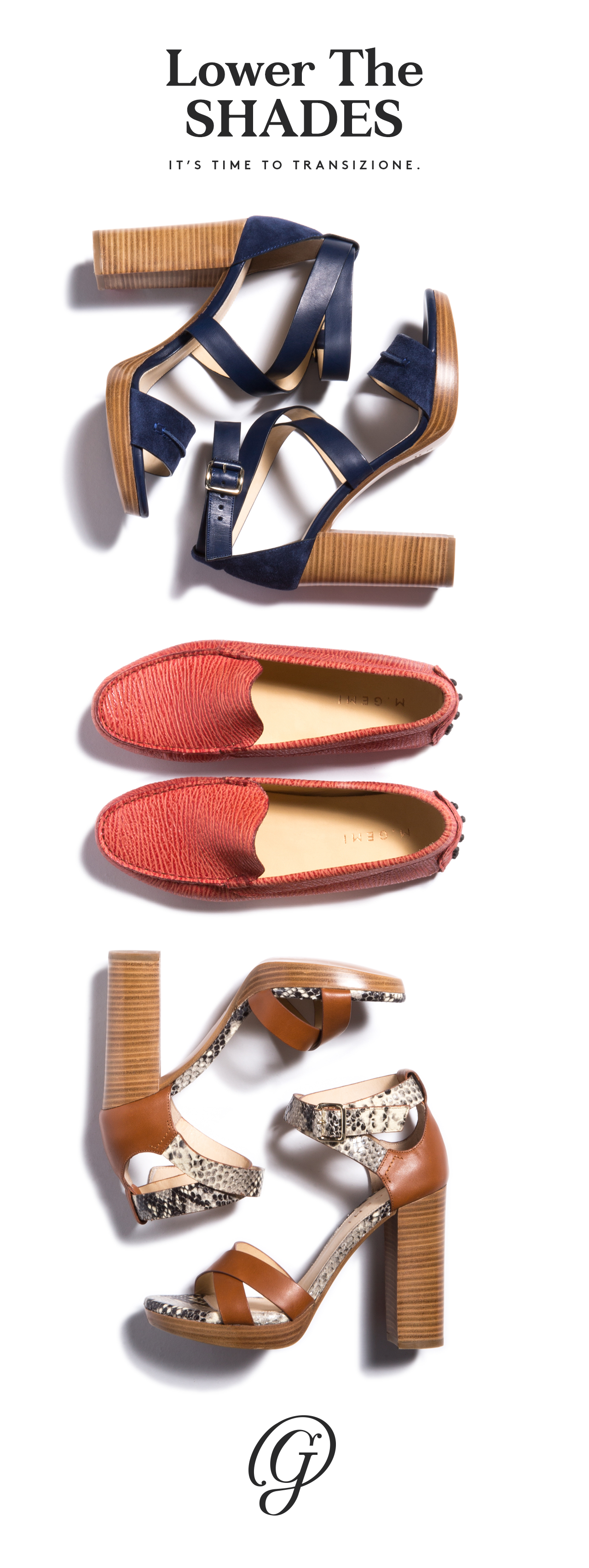 Easing deeper shades into your wardrobe is the best way to warm up to cooling weather. We're starting with a navy platform sandal, a ruby red moccasin, and a luggage and snake-print stacked heel. Shop our Lower The Shades story.