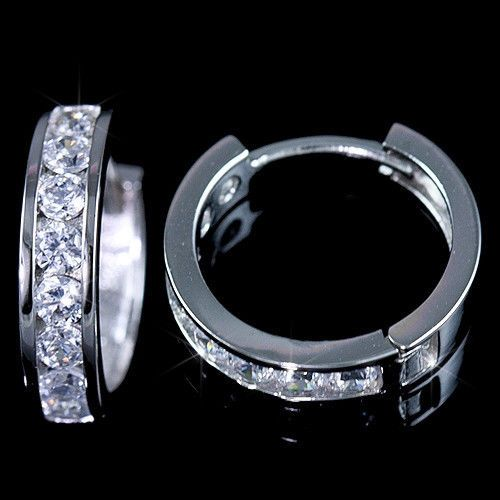 Las Mens 14k White Gold Finish Lab Diamond Hoop Huggie Earring Round Stud
