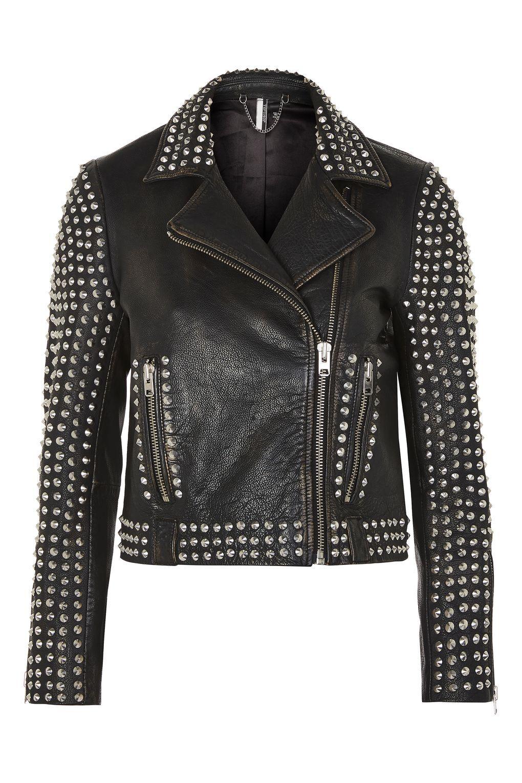 Hand Made Genuine Biker Leather Jacket Silver Studded Black Front Zipper Motor Biker Studded Leather Jacket Black Studded Leather Jacket Studded Jacket [ 1530 x 1020 Pixel ]