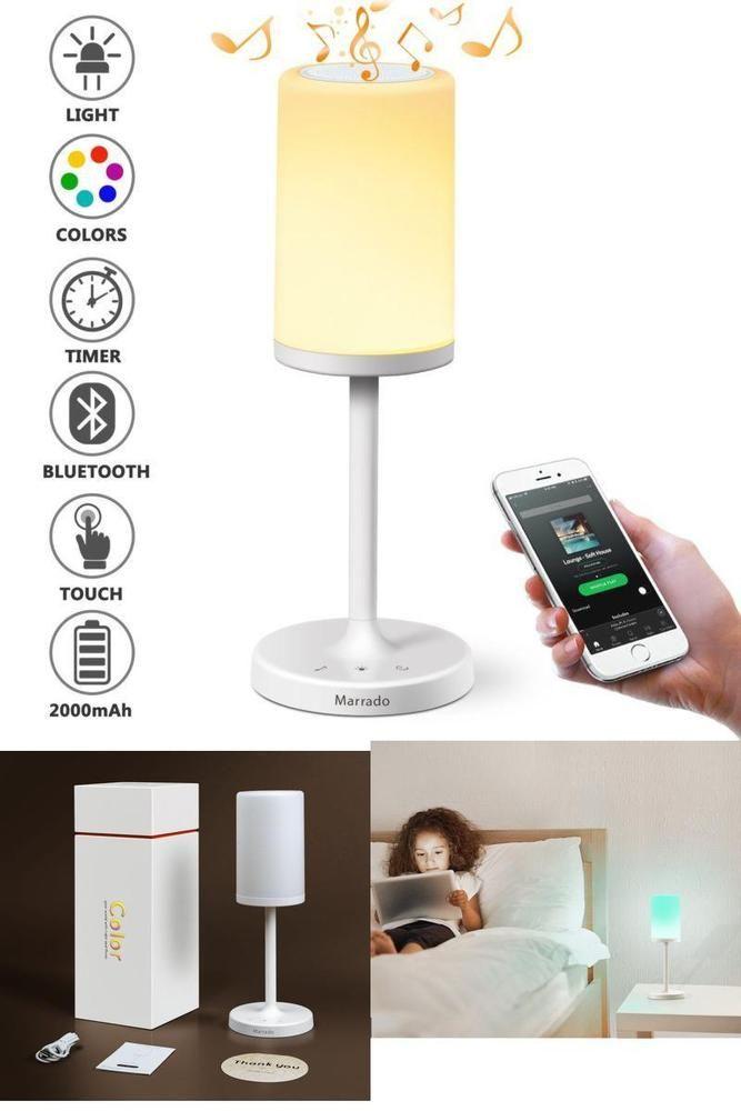 Smart Bedside Table: Bluetooth Speakers Night Table Bedside Light Lamp Smart