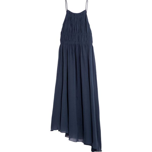 8104350234b4 Tibi Smocked cotton and silk-blend crepon maxi dress (9.485.980 IDR) ❤ liked  on Polyvore featuring dresses, navy, blue dress, strapless dress, ...