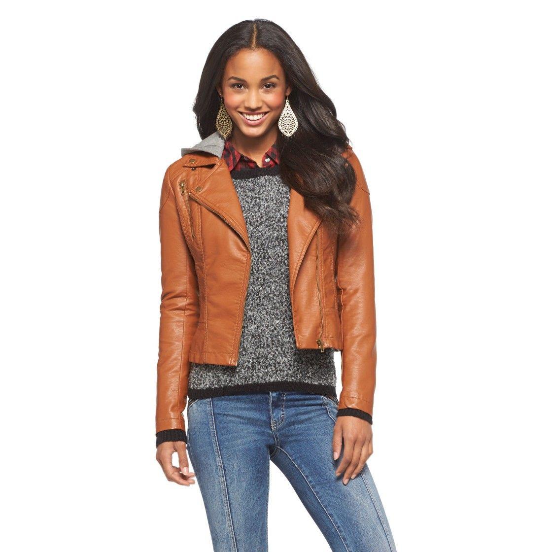 Junior's Faux Leather Hooded Moto Jacket Xhilaration