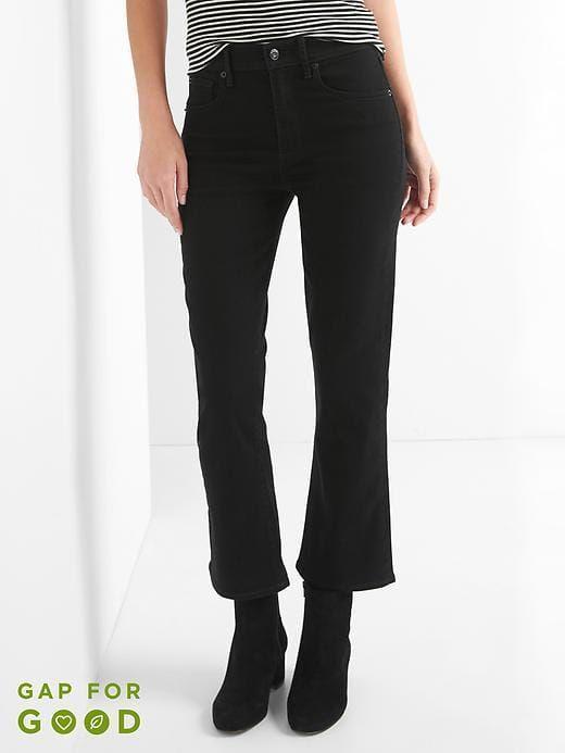 Gap Women/'s Black High Rise Crop Flare Pants Size 4