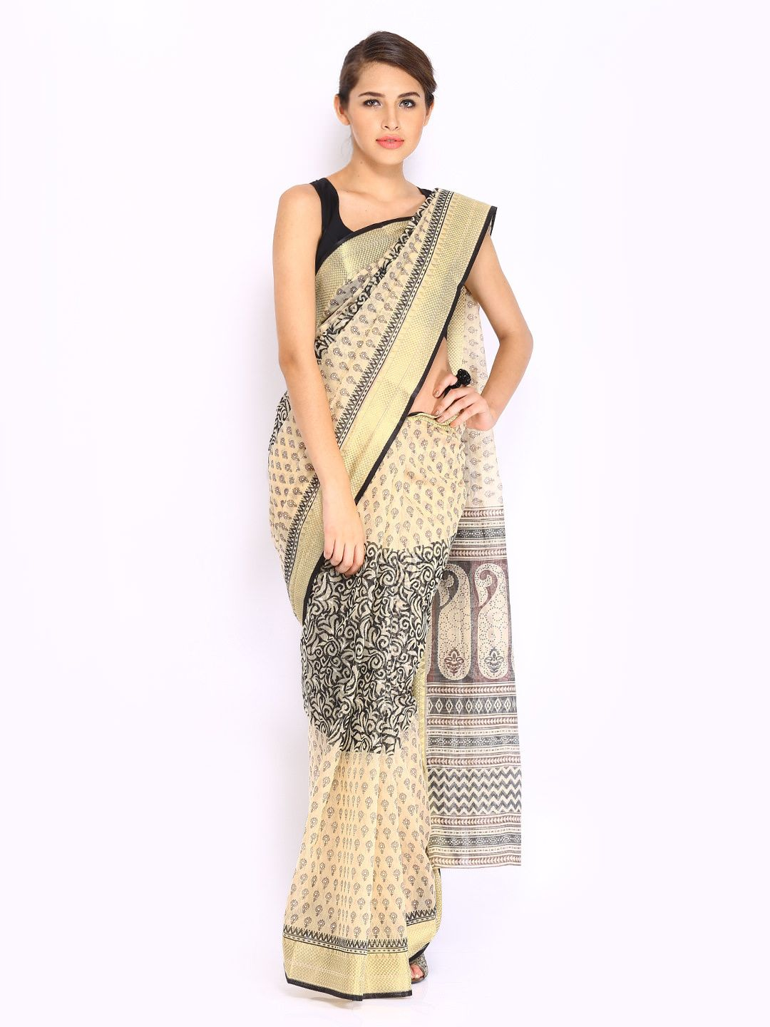 Buy anouk black u cream coloured printed cotton traditional saree