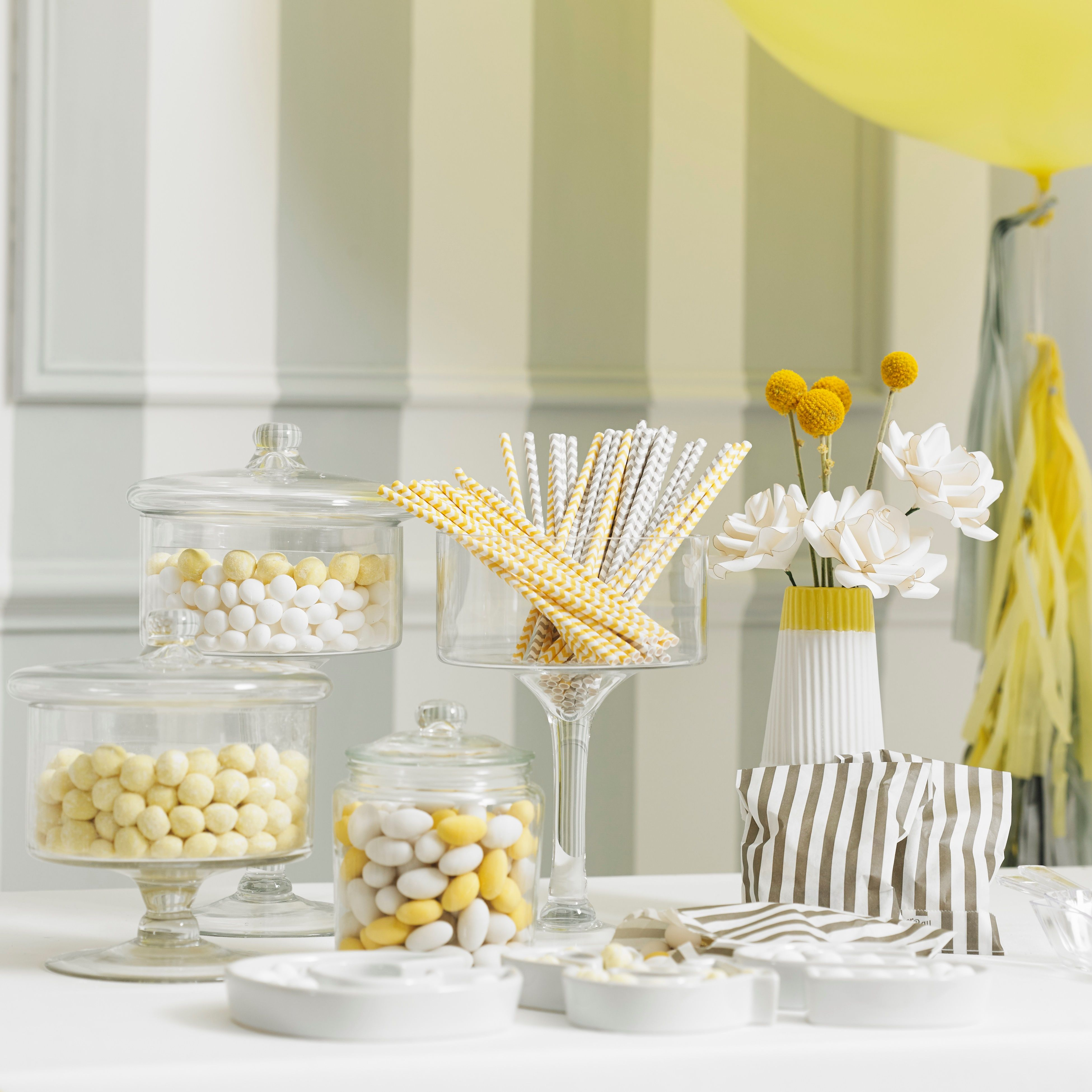Spring Vintage Wedding Ideas: Wedding Styling: Yellow & Grey. DIY Dessert Table With