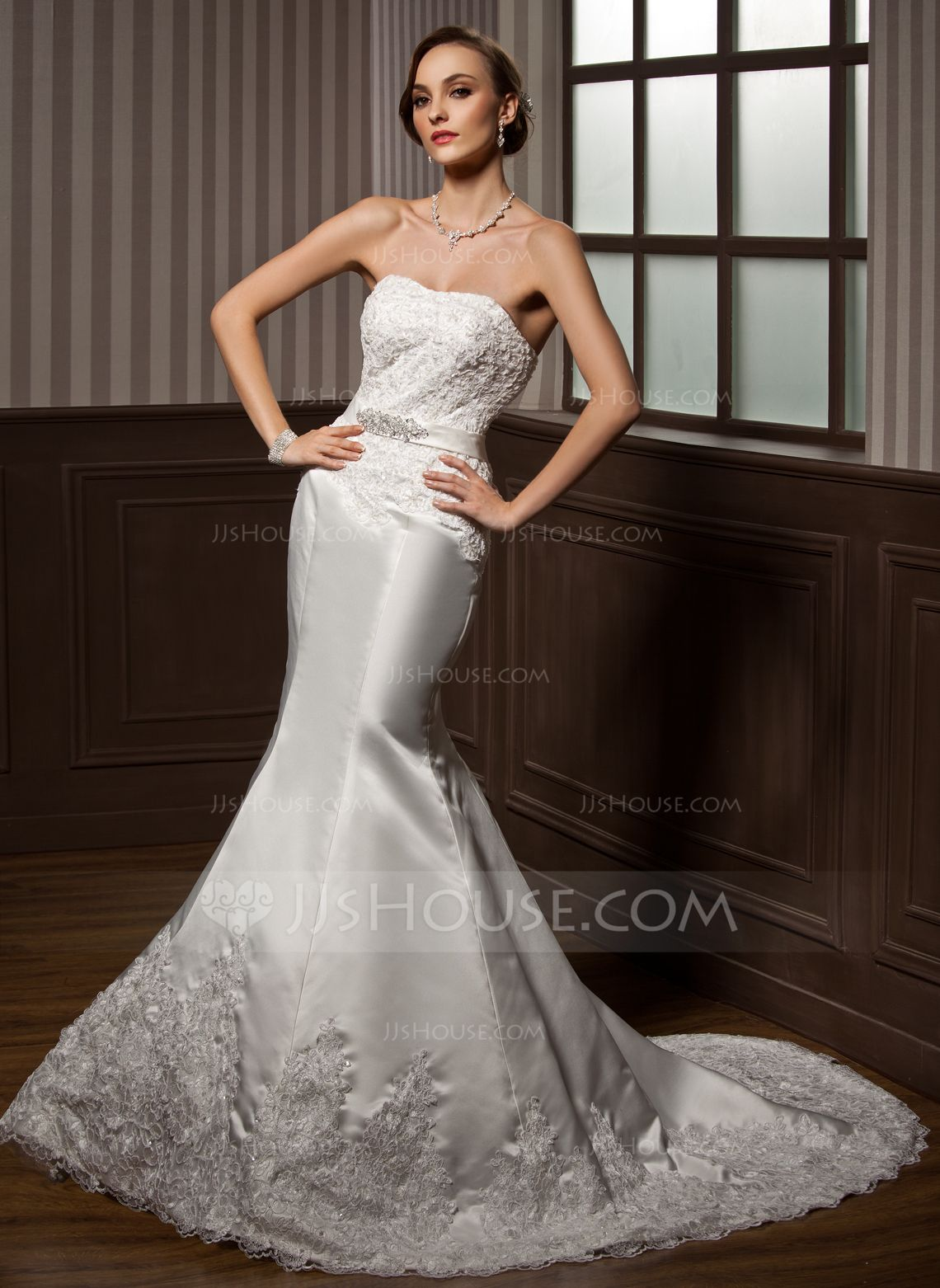 Wedding dress without train  TrumpetMermaid Sweetheart Court Train Satin Wedding Dress With Lace