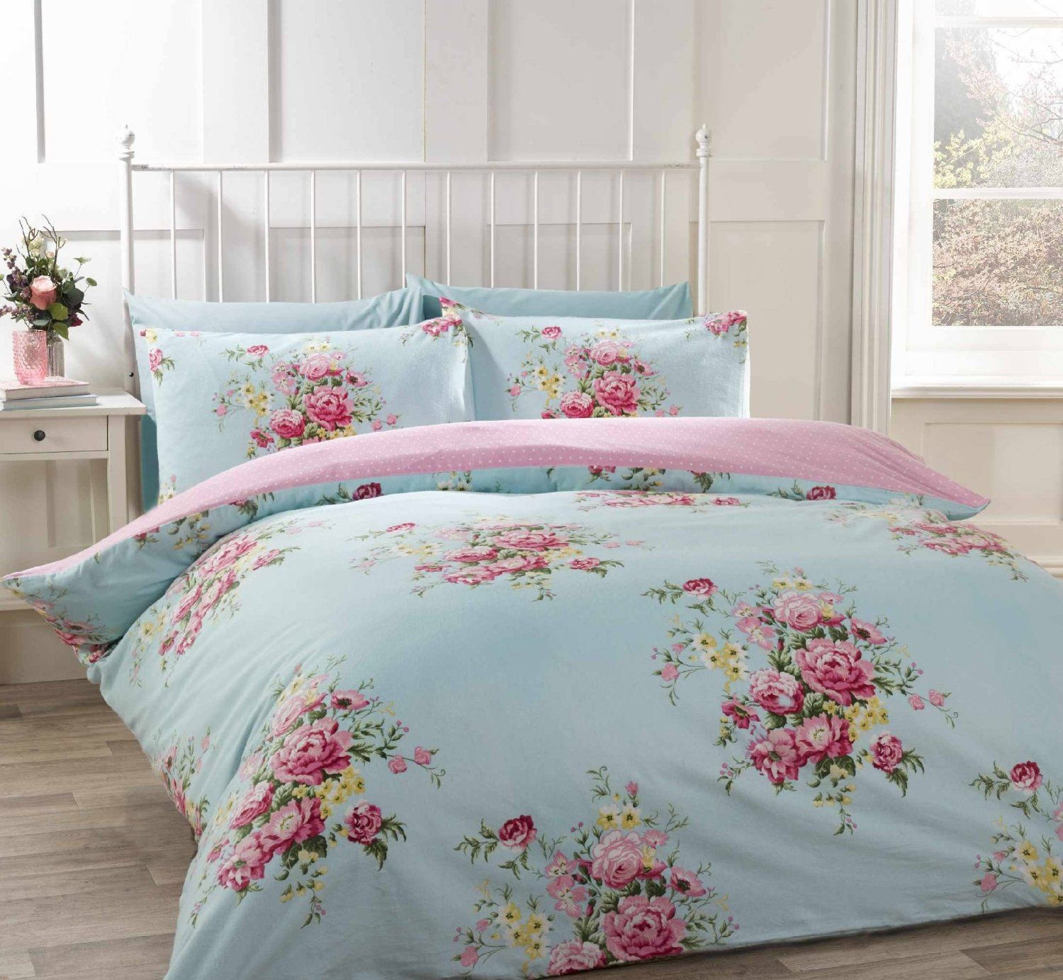 100% cotton flannelette single quilt duvet cover duck egg blue and