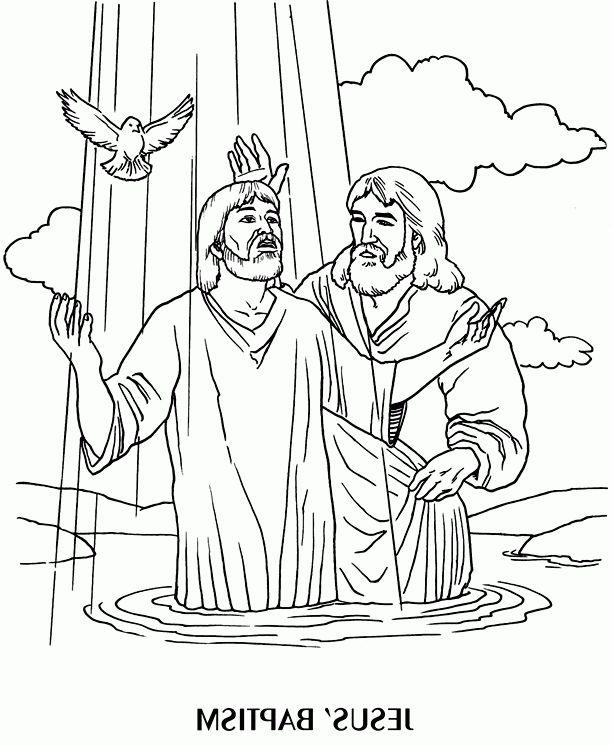 Jesus Baptism Coloring Page   Jesus coloring pages, Bible ...