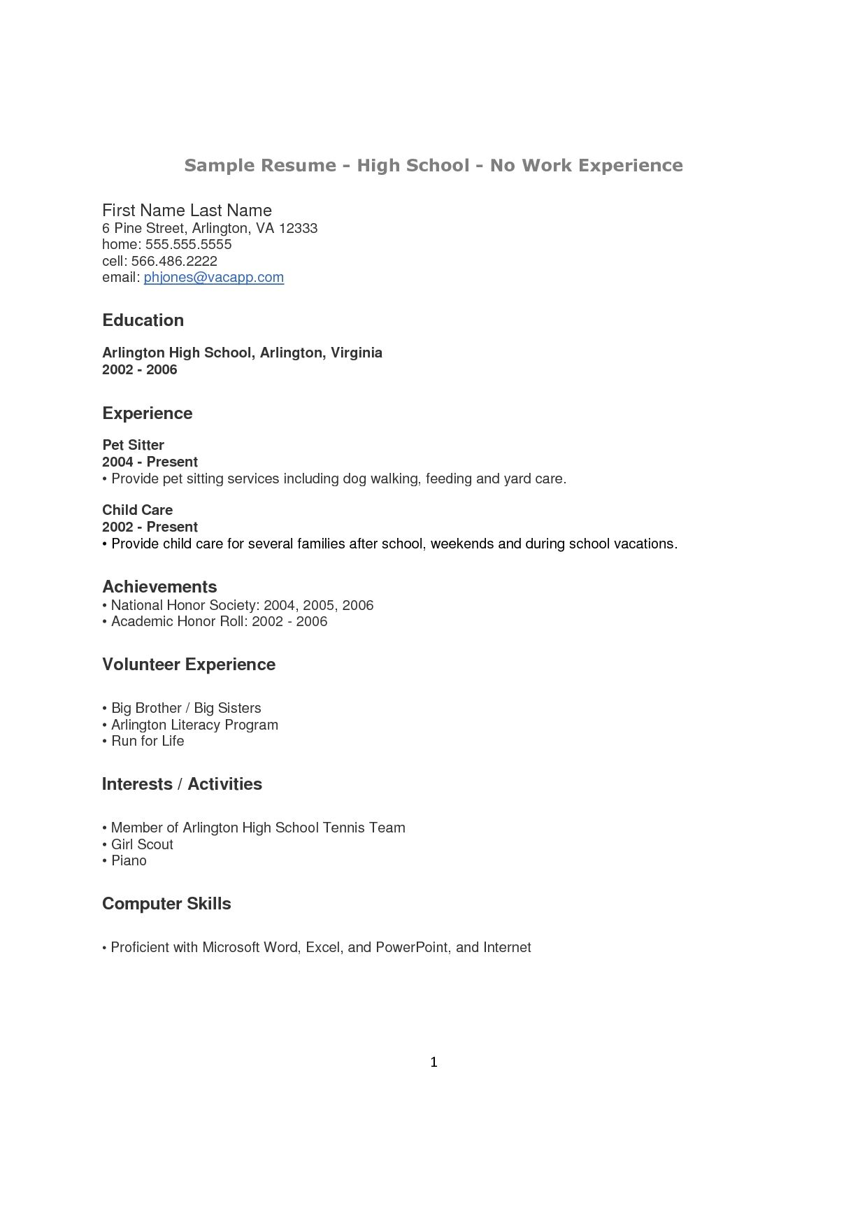 High School Student Resume With No Work Experience Examples Of