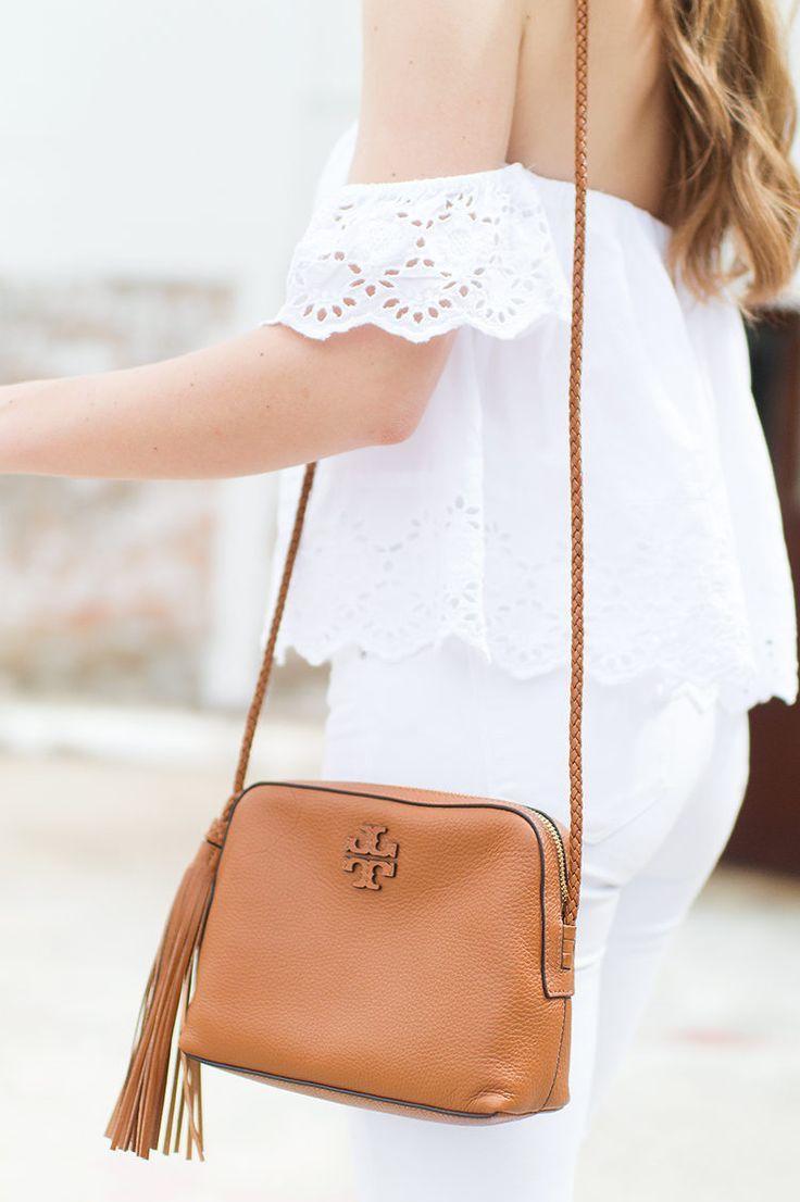 Eyelet Off The Shoulder Top Summer Spring Pinterest Bags De Michel Sandal Flat Wanita Princess Putih All White Outfit Tan Accessories Tory Butch