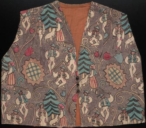 Bolero style waistcoat in painted and quilted fabric depicting frolicking woodsmen and peasant women.  Owned by Gertrude Stein and Alice B Toklas.  Part of the Gertrude Stein and Alice B Toklas Archives at Yale's Beinecke Library