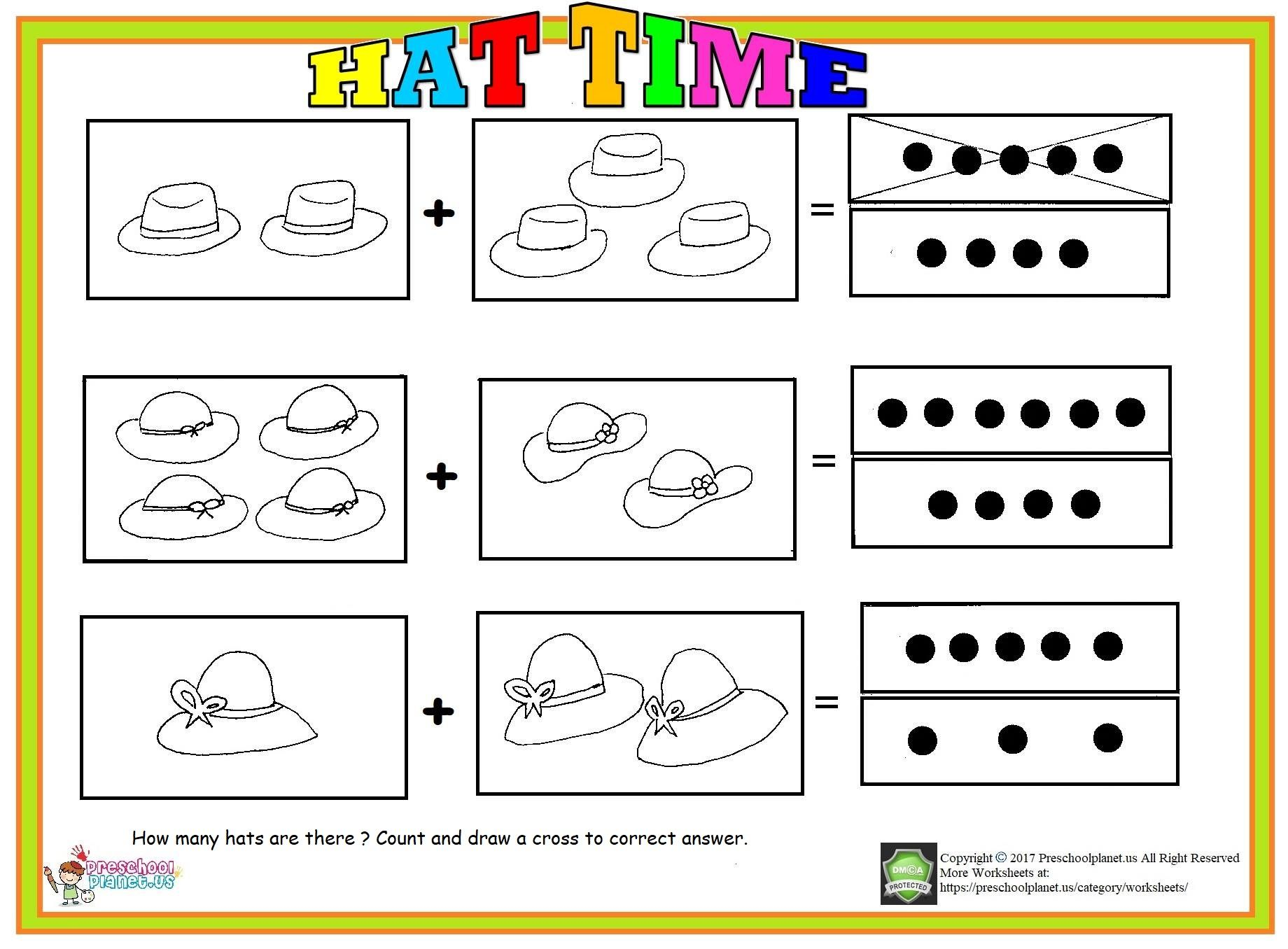 How Many Hats Are There Count And Draw Across To Correct