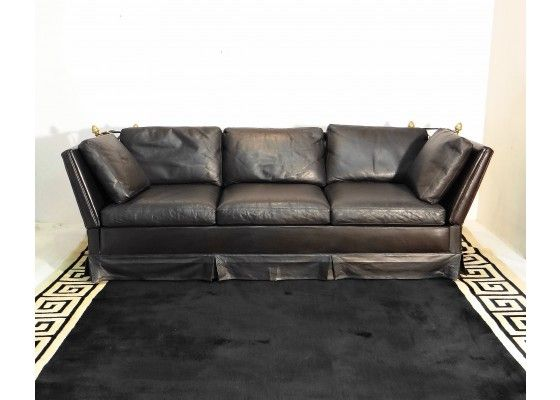 634e2d23711 Vintage Leather Three-Seater-Sofa by Maison Jansen - Furniture - PAMONO