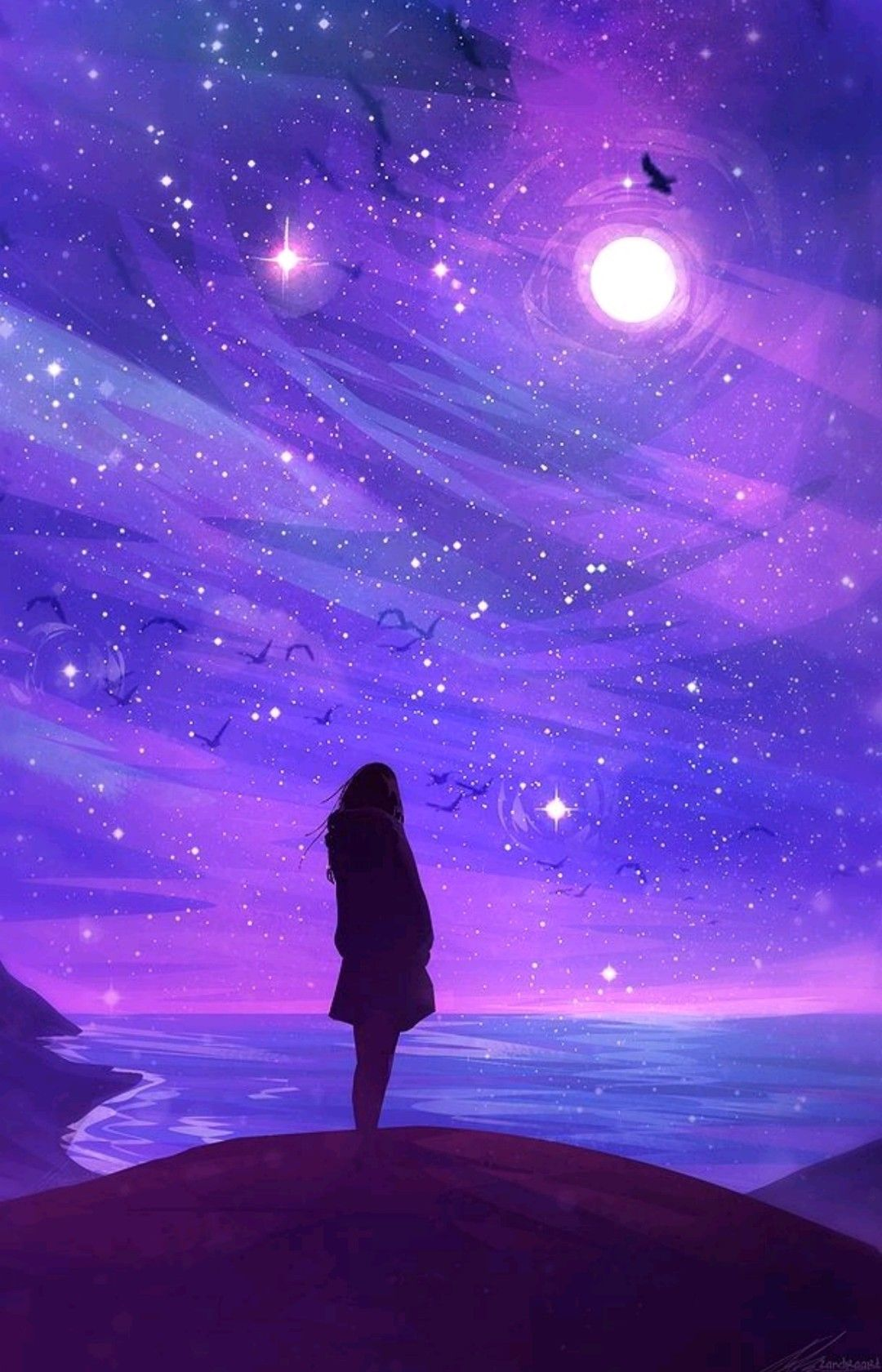 Girl Silhouette Countless Stars Over The Shore Shining Brightly