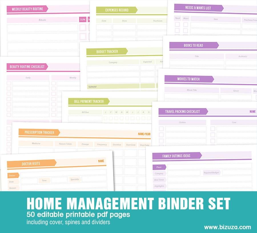 Printable Home Management Binder: 50 Editable Pdf