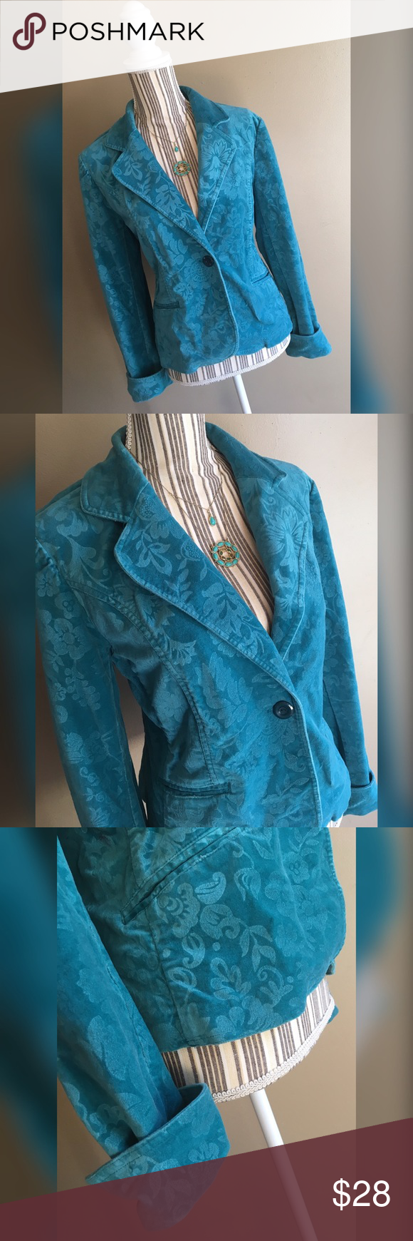 "Teal Floral Velvet Blazer Teal Floral Velvet Blazer by Relativity. Size Large. Bust 41"" lying flat, stretches to 43"". Shoulder to hem length 23.5"". Relativity Jackets & Coats Blazers"