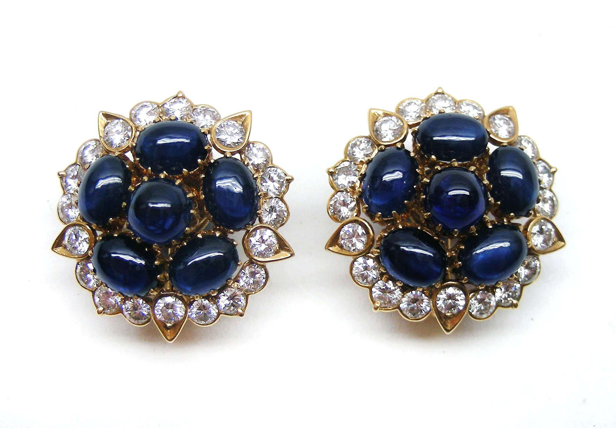 Pair of sapphire and diamond earrings by Cartier Paris designed