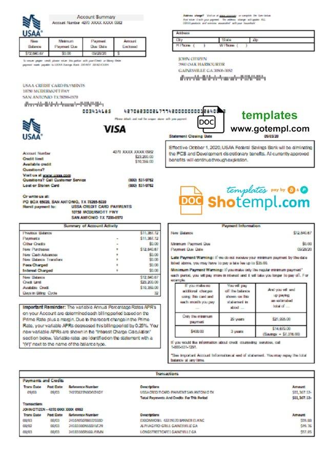 Usa Usaa Bank Credit Card Statement Template In Word And Pdf Format Credit Card Statement Statement Template Bank Statement
