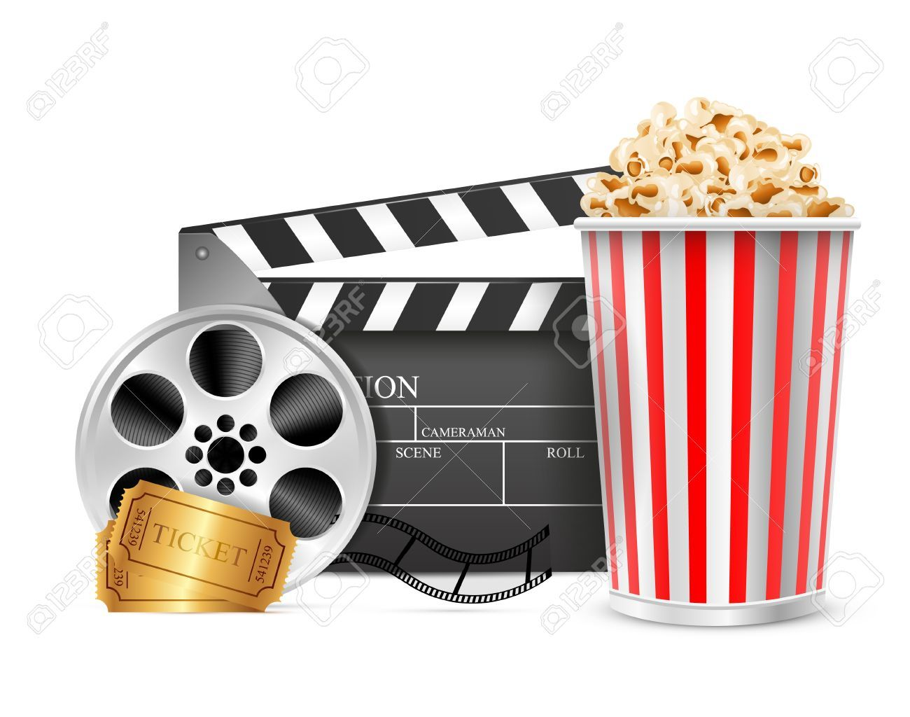 Cinema Clapper Film Reel Drink Popcorn And Tickets Isolated Cinema Iphone Wallpaper Film