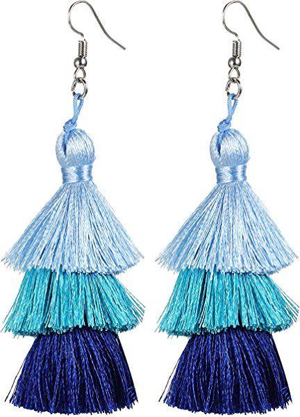 8aac135df Find them on Amazon.com: Tassel Earrings Thread Tiered Tassel Dangle  Earrings Statement Layered Tassel Drop Earrings for Women Girls: Jewelry