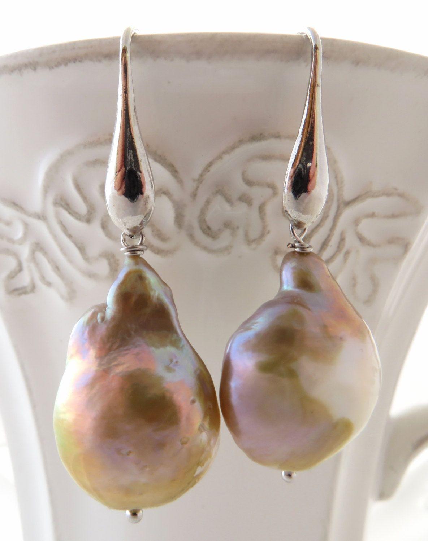 Baroque Pearl Earrings Flameball Dangle Uk Mauve