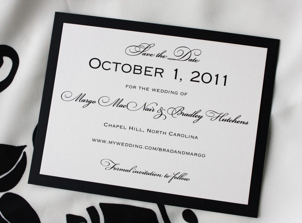 creamwithblackbackingformalweddingsavethedatecards – Wedding Save the Date Postcards