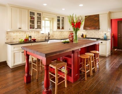 Off White Cabinets With Barn Red Island In Kitchen