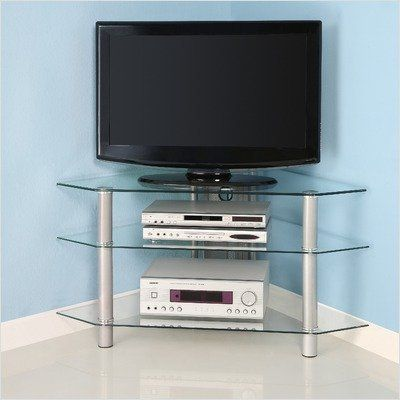 Bermuda Glass Corner Tv Stand With 3 Level Holds Up To 48 Tube