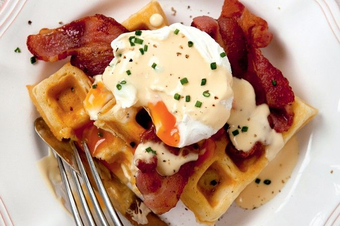 James martins recipe for waffles with poached egg bacon and james martins recipe for waffles with poached egg bacon and hollandaise forumfinder Gallery