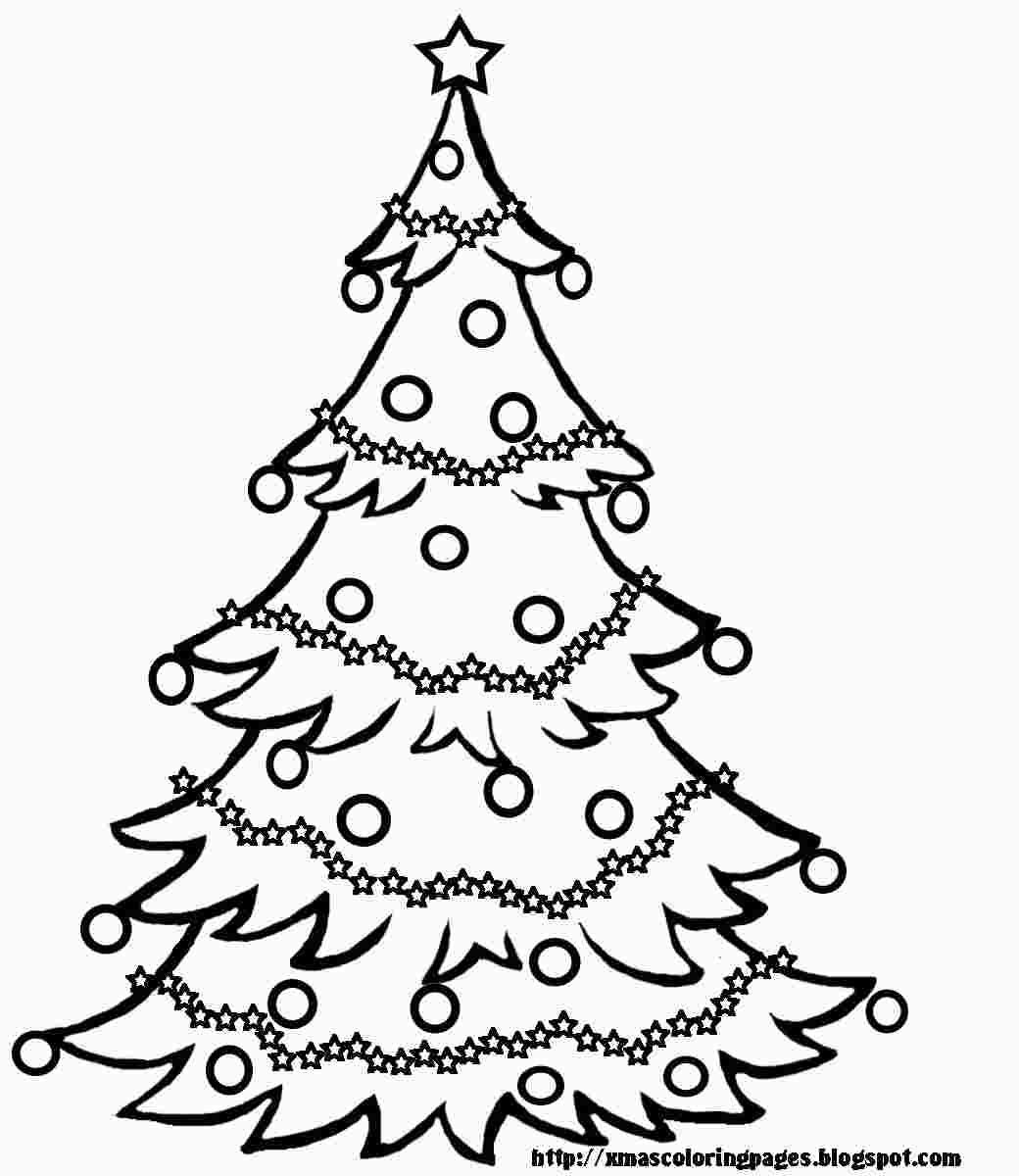 coloring christmas tree black and white